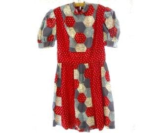 Vintage 1970s Girls Prairie Farmhouse Rust Blue Calico Patchwork Floral Cotton Sundress Summer Dress - Bias Cut - Garden Party