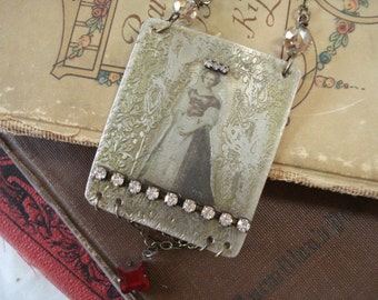 Rhinestone Queen Tin Type Look Photo Transfer to Etched Metal