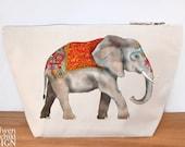 Elephant Canvas Wash Bag, Large Zipper Pouch, Makeup Bag, Toiletry Bag, Accessory Bag