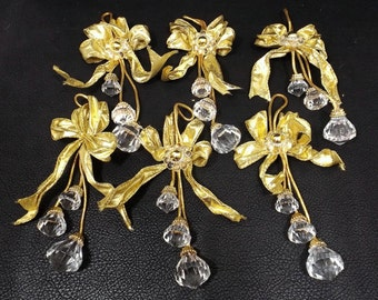Lucite Acrylic Crystal Ornaments Set of Six 6