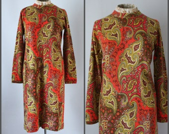 Vintage 60s Sweater Dress Mod Dress A Line Shift Dress Cashmere Dress Fall Dress Paisley Print RARE Dress Pringle of Scotland Hand Printed