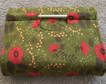 Insulated Casserole Carrier Flowers on Olive Green with Orange Block Interior, Personalization Available