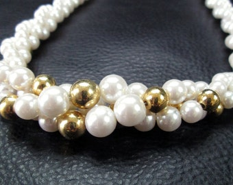 White pearl necklace, vintage bridal white faux pearl and gold tone beaded choker by Napier