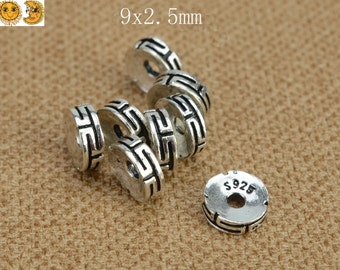 5 pcs Bali 925 Sterling Silver spacer bead,findings,jewelry finding,925 silver finding,oxidized,rondelle,roundel,abacus,round bead 9x2.5mm