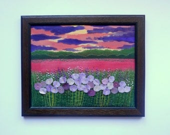 fibre art textile painting wall hanging fabric picture  embroidery