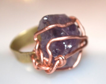 Metaphysical Brutalist Copper Brass Wire Genuine Untreated Amethyst Rustic Burning Man Tribal Primitive Forged Ring Stone Artisan Size 6