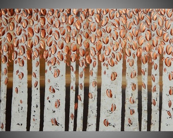 Birch Tree Painting Copper Abstract Acrylic Painting on Canvas Forest Landscape Textured Brown 3D Art Deco 48 x 24 Made to Order by ilonka