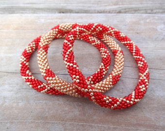 Ruby Red and Galvanized Rose Gold Beaded Handmade Bracelets Set, TOHO Galvanized Japanese Seed Beads,Nepal, JS26, High quality