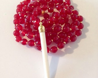 Red Jade Howlite Spike Necklace