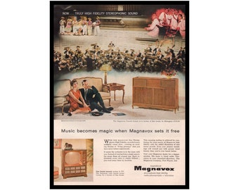 Magnavox Console Stereo Ad, 1950s Electronics Advertising, 1958 Magazine Print, Vintage TV Ad, Ready to Frame, High Fidelity Radio