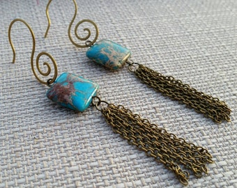 Imperial Jasper & Brass Fringe Earrings