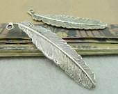 10PCS antique silver 15x52mm feather charm penddant- XC6262