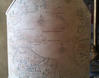 Shield Shade Old World Map Parchment Half Lampshade - Handmade in Italy