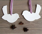 White Birds Ceramic Christmas Decoration Set of 2 Gift Minimalist Christmas Pottery Ornament