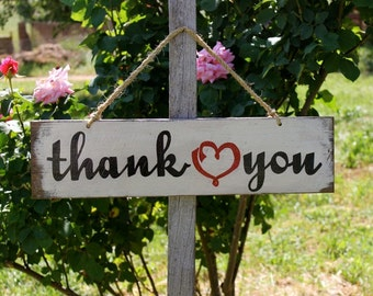 "Rustic Country Wedding Sign ""Thank You"""