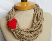 Infinity Scarf, Crochet Necklace,Cofee with milk color, Red heart, scarflette,chain brown necklace, gift under 20, Valentines gifts,