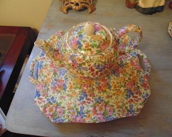 Vintage Erphila Czechoslovakia Chintz Tea Set with Teapot Open Sugar Creamer and Two Serving Trays