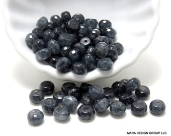 mystic blue quartz faceted rondelle beads -7.5 mm - 1/2 strand (38) beads