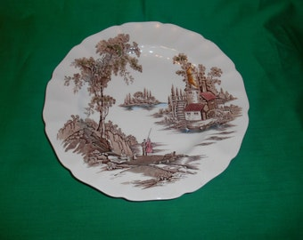 "One (1), 10"" Dinner Plate, from Johnson Bros., in; The Old Mill-Brown-Multicolor Pattern."