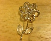 Glass and Gold-tone Flower Brooch