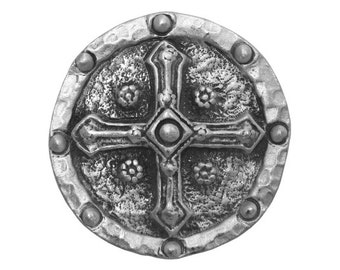 2 Shield Cross 1 and 5/16 inch ( 33 mm ) Pewter Metal Buttons Silver Color