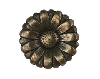 12 Brass Morning Flower 3/4 inch ( 20 mm ) Metal Buttons Brass Color