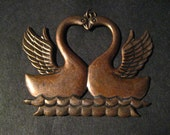 Antique Chain Fob Of Two Bonded Gay Swans Making Perfect Heart