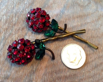 Decorative Hair Pins Jewelry 1950 Red Weiss Red Ruby Garnet Rhinestone Hairpins Bobby Pins, EXQUISITE!! RARE!