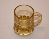 Vintage Amber Colored Federal Glass Small Beer Mug, Shot Glass with Federal Glass Logo On Bottom, Vintage Barware, Collectible, Glassware