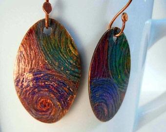 READY to SHIP Colorful Galaxy Swirls Handmade Copper Earrings CPE95