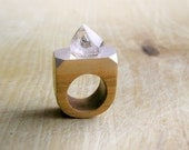 Sale Gemstone geometric wooden Ring with Rock Crystal, coctail statement ring, faceted gemstone jewelry, geometric jewelry, brown silver