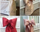 Small Crib Bows: nursery bows, small bow for cots, neutral baby bedding, baby girl bedding, faux silk curtain tie back, Custom Made to Order