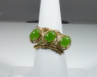 Ladies, Hand, Made, Vintage, 14kt, Yellow, Gold, Jade, Ring.
