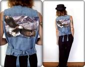 Soaring Eagle Upcycled Vintage Southwestern Denim Vest