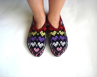 hearted slippers, womens slippers, Turkish Socks Slippers, ladies booties, house shoes, gifts for woman, girlfriend Christmas gifts