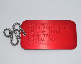 "Red Medical Alert ID Tag w/ 4"" chain"