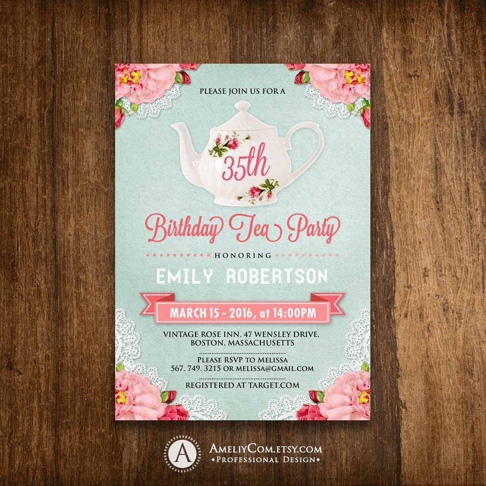 Adult Birthday Invitations Tea Party Birthday Invite DIY