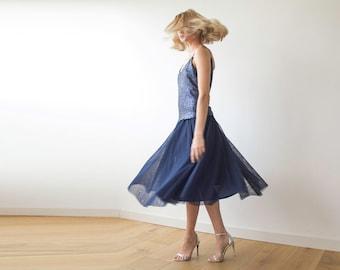 Tulle midi length navy blue skirt, Knee length tulle skirt 3006