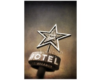Classic Neon Sign Photo, Mid-Century Decor, Motel Sign, Kitsch, Road Trip, Colfax, Denver, VIntage Sign