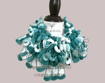 Turquoise Blue White Fairy Tale Crochet Winter Scarf-Puffy Bubbles Woman Accessorie-Gift for her-Stocking Stuffer-Under 15 25