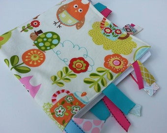 Baby Girl Tag Blanket // Baby Girl Blanket // Ribbon Blanket in Owls // Cherry on Top Sweet Critters // Ribbon Blanket // Ribbon Lovey