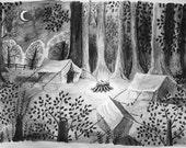 Campsite. Original A2 on thick paper. Large original watercolour, pen and pencil.