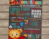 Daniel Tiger Birthday Chalkboard, Daniel Tiger Birthday, Daniel Tiger Party, First Birthday Chalkboard, Tiger Party Decor Sign - PRINTED