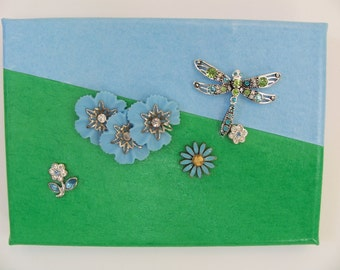 Blue Sky Spring--flowers and dragonfly canvas