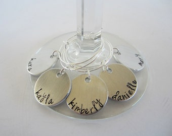 Set of 5 Hand Stamped Personalized Wine Charms - Custom Wine Charms - GNO - Party Favors - Wedding Favors - Wine Tasting - kg33654