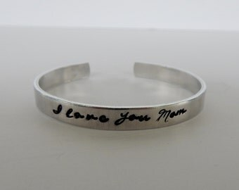 I love you Mom - Hand Stamped Bracelet - Mom Bracelet - Mother's Day Gift - Gift for Mom - Mother Daughter - Mother Son