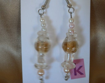 """gold, pearls, and silver """"Pina Colada"""" earrings"""