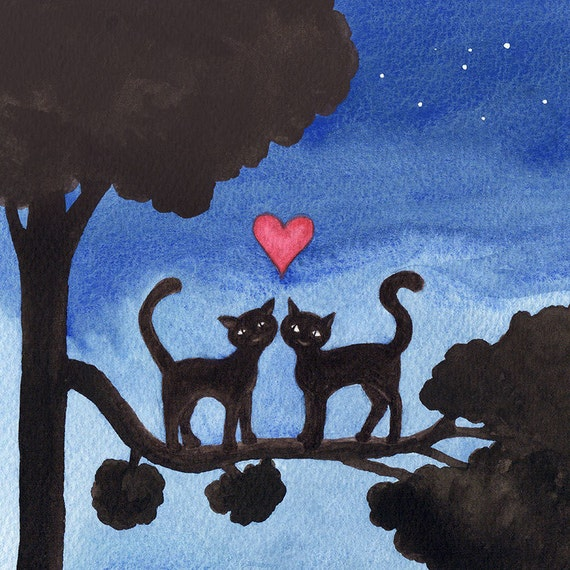 Two Cats in a Tree Valentinés Love Art Print