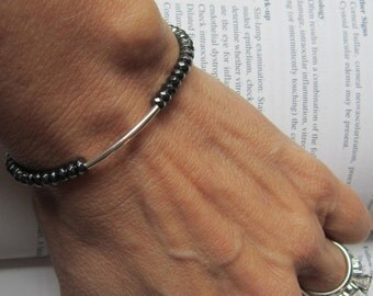Hematite And Sterling  Bracelet - Fashion Forward, Chic, Birthday, Anniversary, Gift For Friend, Unique, For Her, Gift For Her