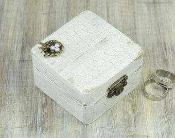 Bird Nest Wedding Ring box, Ring Bearer Box, Wedding Ring Bearer Pillow, White Gold Wooden Box , Pillow Alternative